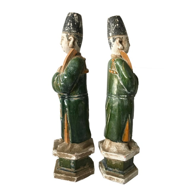 Chinese Ming Dynasty Glazed Pottery Tomb Figures - A Pair - Image 2 of 6