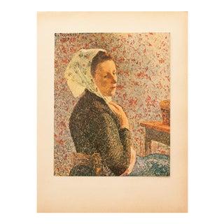 "1930s Camille Pissarro, Rare Original ""Woman With Green Scarf"" Lithograph For Sale"