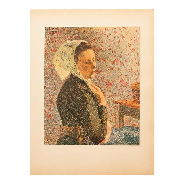 "1930s Camille Pissarro, Rare Original ""Woman With Green Scarf"" Lithograph For Sale"