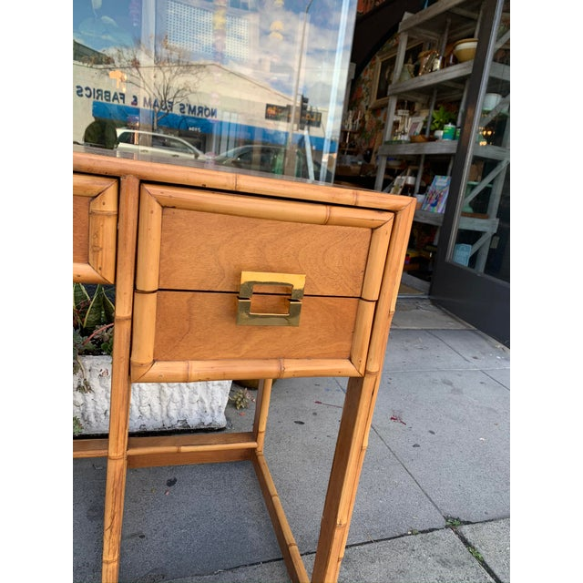 Asian Mid-Century Vintage Bamboo Trimmed Desk For Sale - Image 3 of 11
