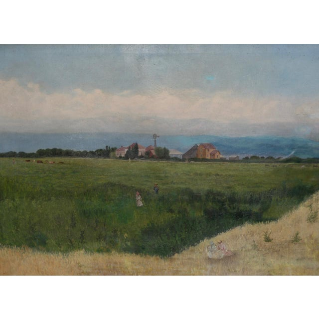 Prather Fresno Family Farm, Prather, Ca Historical Oil Painting 19th Century For Sale In San Francisco - Image 6 of 11