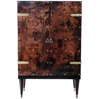Bar Cabinet in Goatskin Parchment by Aldo Tura, 1960s For Sale