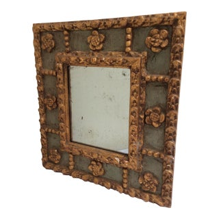 Antique Peruvian Carved Green & Gold Mirror For Sale
