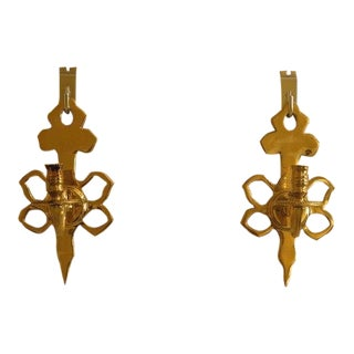 Virginia Metal Crafters #2019 Brass Candelabra Sconces - A Pair For Sale