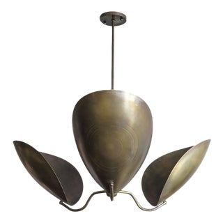 """Chiton"" Three-Arm Raw Brass Chandelier"