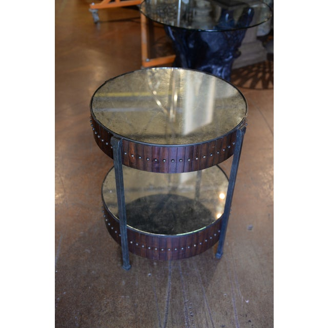 Sophisticated modern industrial two tiered drum accent table by Thomas & Gray, metal drum frame with antique mirror tops,...