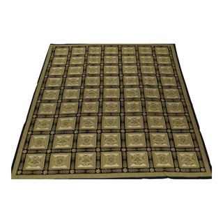 Needlepoint Design Hand Woven Wool Rug - 12' X 15' For Sale