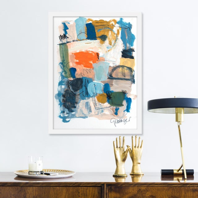 Giclée on textured fine art paper with white frame. Unframed print dimensions: 15.75x22.75. Seeking to create an abstract...