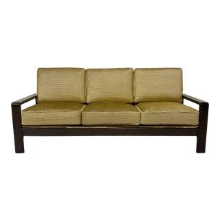 Danish Rosewood Frame Sofa in Pleated Velvet For Sale