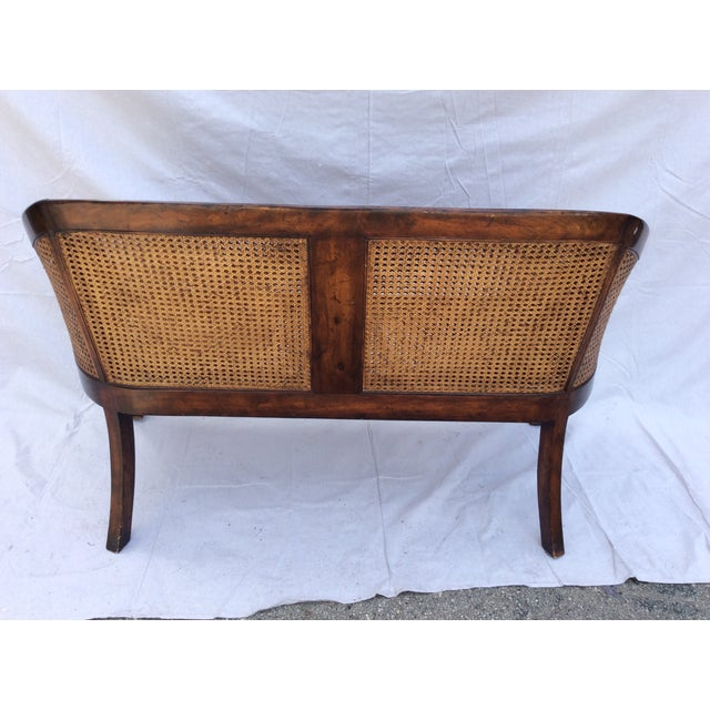 British Colonial Traditional Mahogany and Cane Settee For Sale - Image 3 of 7