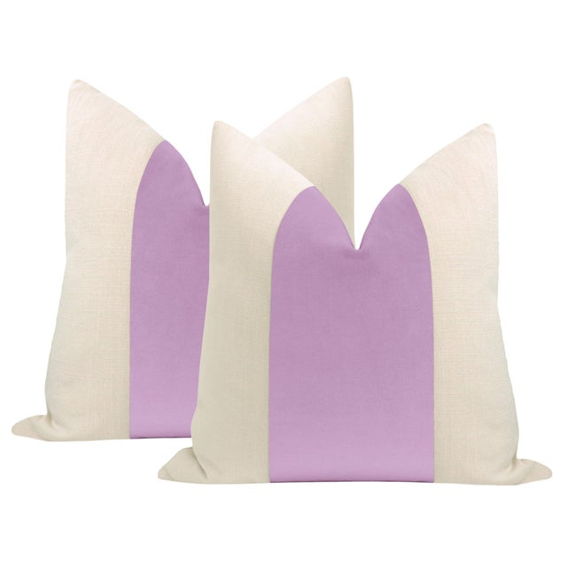 "Not Yet Made - Made To Order 22"" Lavender Velvet Panel & Linen Pillows - a Pair For Sale - Image 5 of 5"