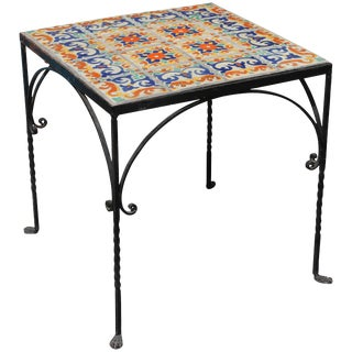 Large Mizner Era Tile Top Table For Sale