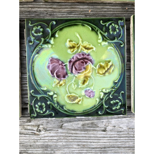 Late 20th Century Antique English Art Nouveau/Victorian Era Raised Relief Ceramic Tiles Floral Pattern - Set of 6 For Sale - Image 5 of 13