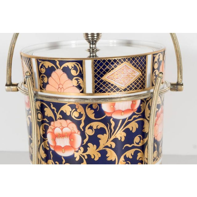 Gold Antique English Biscuit Holder in Porcelain and Silver Plate by Spode For Sale - Image 8 of 11