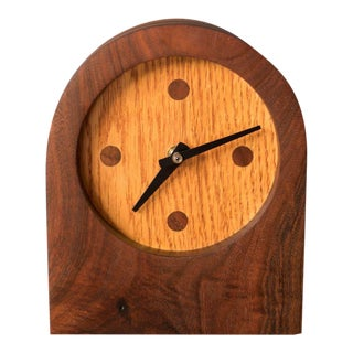 Mid-Century Modern Walnut and Oak Studio Clock For Sale