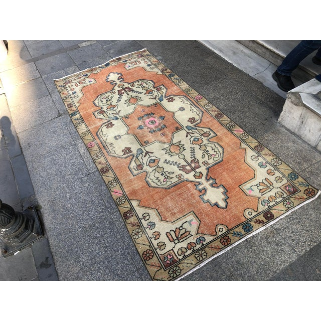 1960s Vintage Anatolian Floral Rug- 3′8″ × 7′9″ For Sale - Image 6 of 11