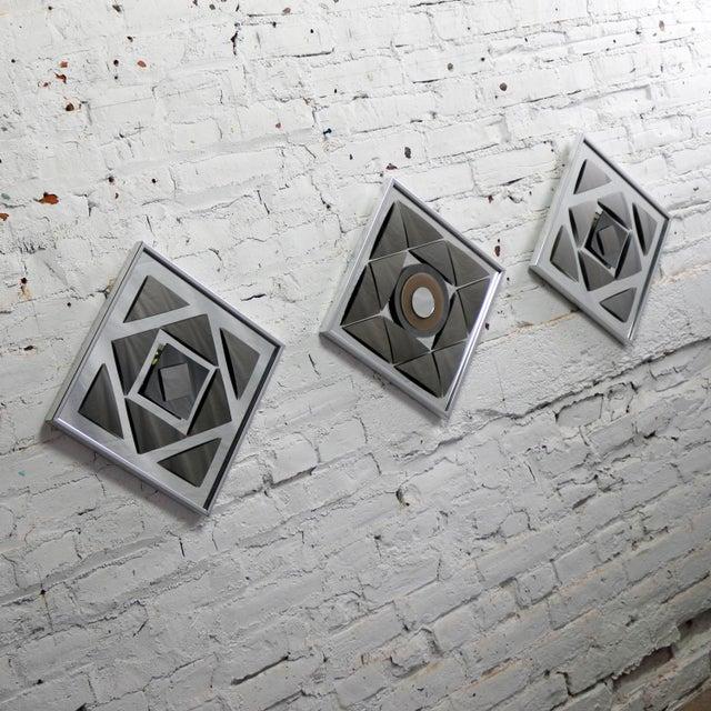 Gray Pop Art Op Art Geometric Trio of Framed Mirror Wall Sculptures by Hal Bienenfeld For Sale - Image 8 of 13