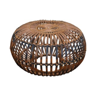 Italian Round Rattan Ottoman by Franco Albini For Sale