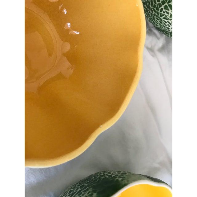 Vintage Knobler Japan Melon Cantaloupe Serving Bowl & 8 Matching Bowls For Sale - Image 9 of 11