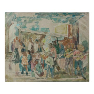 Muted Abstracted People Scene 1967 Oil For Sale