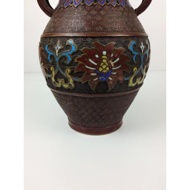 Vintage Japanese Champleve Cloisonne Bronze Vase - Image 4 of 8