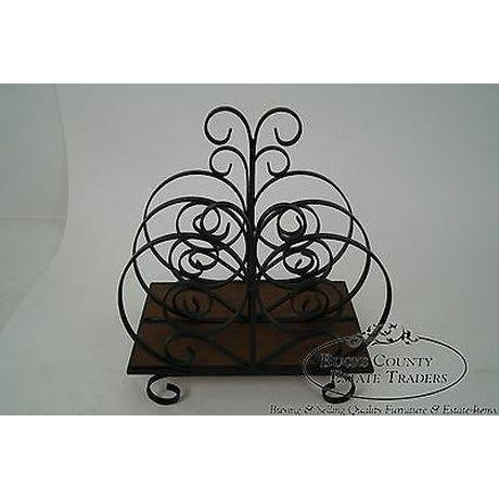 Custom Ornate Scrolled Wrought Iron Spanish Style Magazine Stand For Sale - Image 13 of 13
