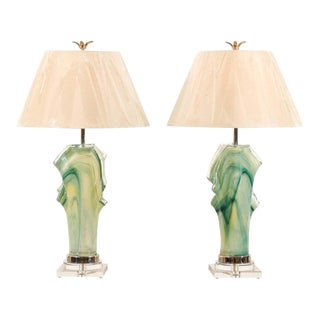 Phenomenal Pair of Custom-Made Murano Lamps For Sale