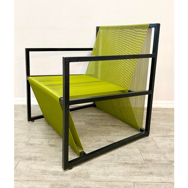 2020s Mid Century Modern Style Iron and Vinyl Threaded Side Chair For Sale - Image 5 of 8