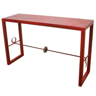 1999 Contemporary Maurice Beane Red Steel and Nickel Tauro Console Table For Sale