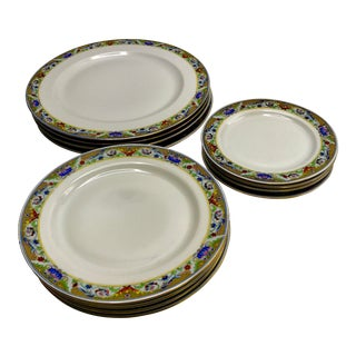 1920s Vintage Koenigszelt Bone China Dishes- Set of 12 For Sale