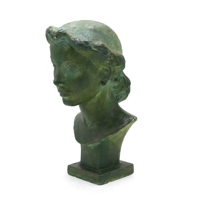 French Art Deco Patina Lady Bust For Sale - Image 10 of 10