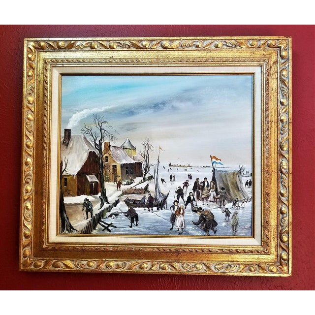 PRESENTING A GLORIOUS piece of ORIGINAL Dutch art, namely, a Scene of Dutch Ice Skating Oil on Canvas by Van Buiksloot. J....
