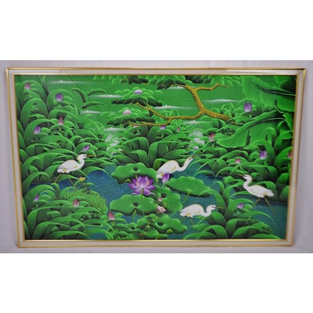 Large Art Deco Textile Art Painting Professionally Framed - Image 2 of 11