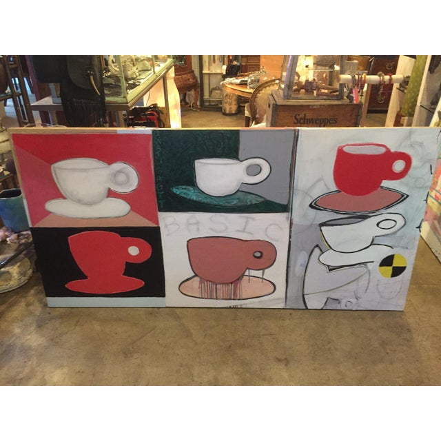 Original Pop Art Coffee Cups Painting by California Artist Casey O'Connor For Sale - Image 11 of 11