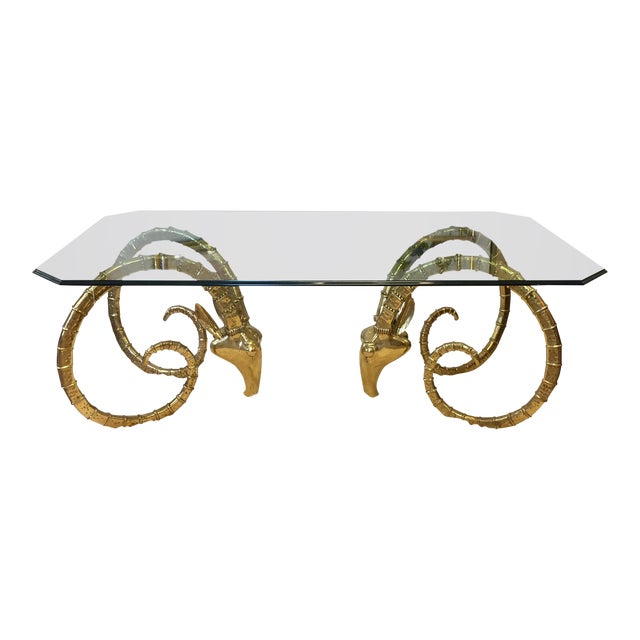 Solid Brass Vintage Ibex Dining Table For Sale