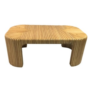 1960s Vintage Split Reed Rattan Coffee Table For Sale
