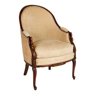 French Empire Style Swan Arm Tub Chair For Sale