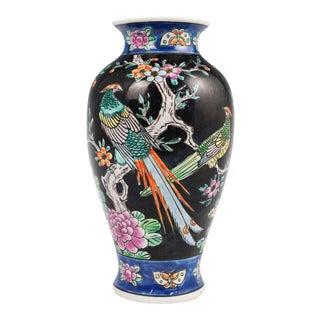 Vintage Black Japanese Glazed and Handpainted Vase For Sale