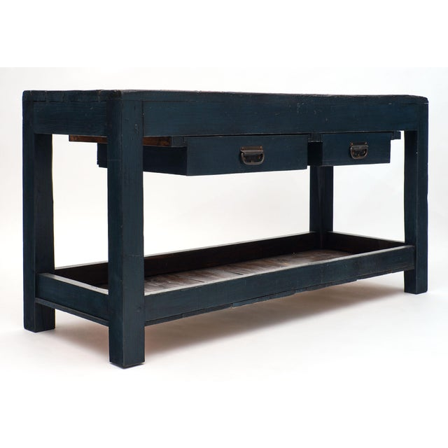 Antique Italian Blue Painted Work Table For Sale In Austin - Image 6 of 10