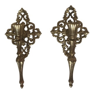 Brass Scroll Candle Sconces - a Pair For Sale