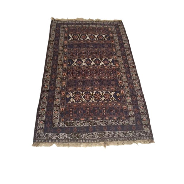 Image of Antique Turkish Soumak Rug - 3′10″ × 6′7″