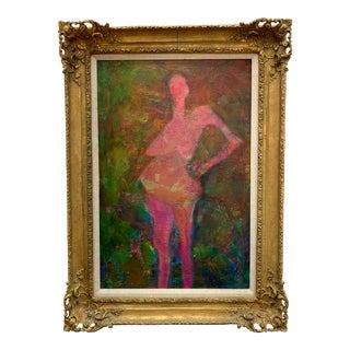 Martin Sumers Figurative Abstract Painting in Original Frame For Sale