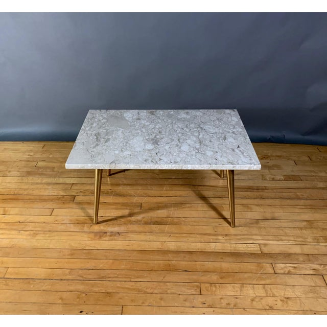 Brass Mid-Century Travertine and Brass Coffee Table, Usa For Sale - Image 7 of 10
