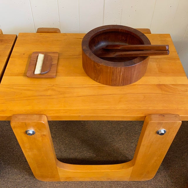 1970s Studio Craft Pine Side Tables - a Pair For Sale - Image 4 of 8