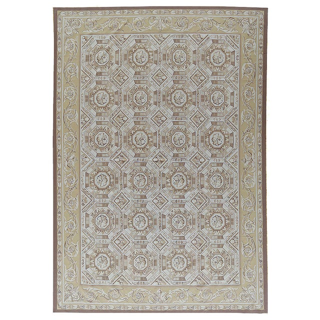 "French Pasargad Aubusson Hand Woven Wool Rug - 11' 1"" X 16' 2"" For Sale - Image 3 of 3"