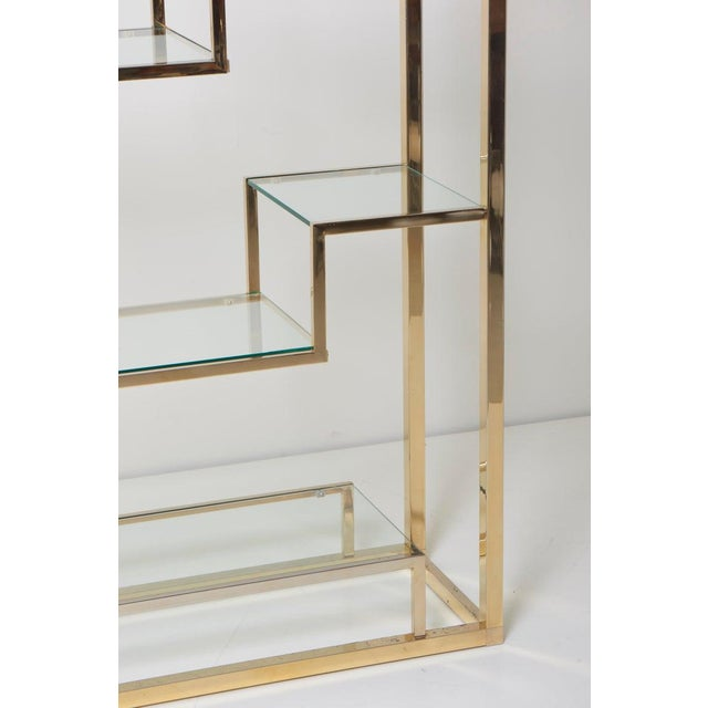 Romeo Rega Very Huge Brass and Tinted Glass Bookshelf or Étagère by Romeo Rega For Sale - Image 4 of 6