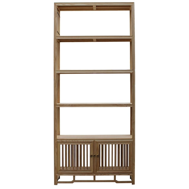 2010s Light Natural Raw Wood Shutter Doors Minimalist Bookcase Display Cabinet For Sale - Image 5 of 8