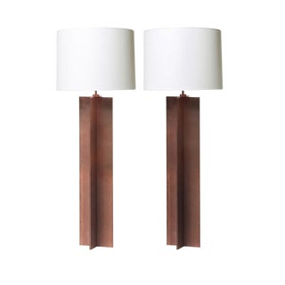 """Croisillon"" Style Crosspiece Floor Lamps in Copper Finish - a Pair"