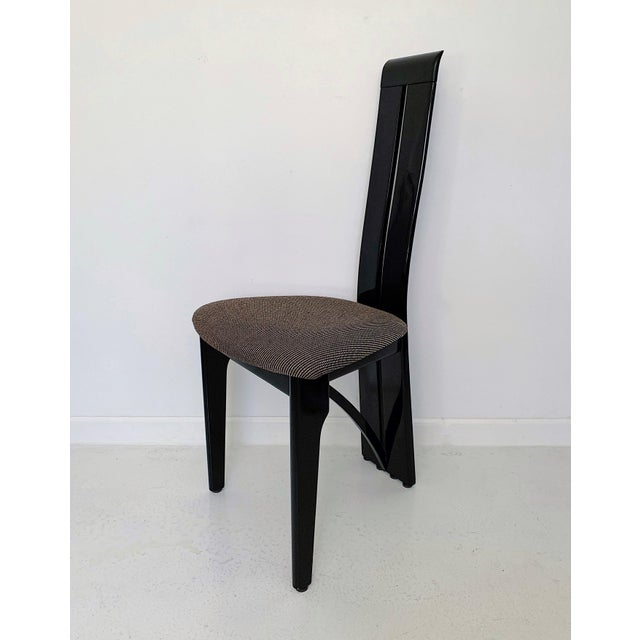 1990s Vintage Italian Pietro Costantini High Back Black Lacquer Dining Chairs- Set of 6 For Sale - Image 9 of 13