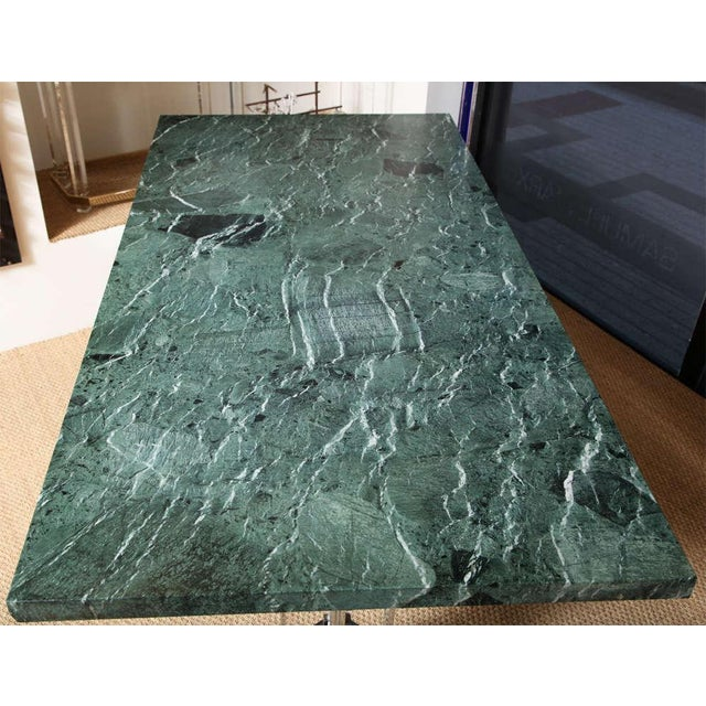 Marble Albrizzi Steel Base Trestle Table with Serpentina Verde Marble Top For Sale - Image 7 of 9
